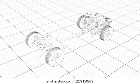 Working Car Internal Combustion Engine Scheme with chassis and wheels 3d render