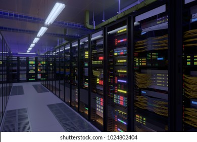 Working data center interior. Concept of hosting, computer cluster, supercomputer, virtual servers, digital cloud or mining crypto currency farm.