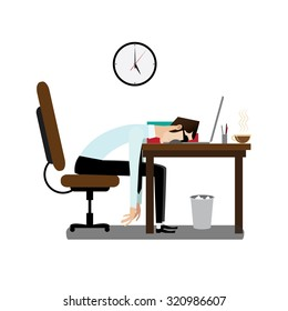 Working friday concept, tired businessman sleeping at working desk | raster version