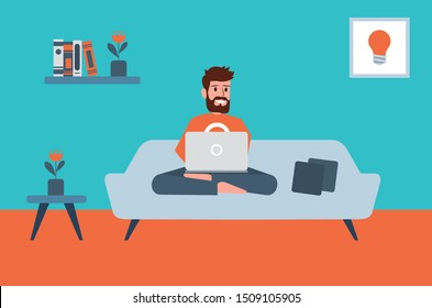 Working From Home Freelancer and Laptop Gig Economy Concept