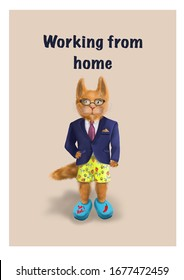 Working from home humor. Funny cat. Digital painting