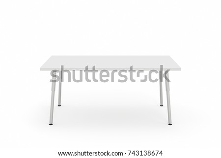Working Office Desk With Aluminum Legs. White Countertop. 3d Rendering  Illustration