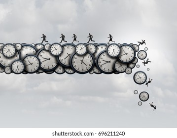 Working overtime health risk and work exhaustion symbol as business people running away from falling clock objects as a corporate stress metaphor with 3D illustration elements.