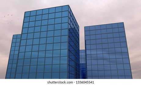 working place office modern building blue glass 3D illustration