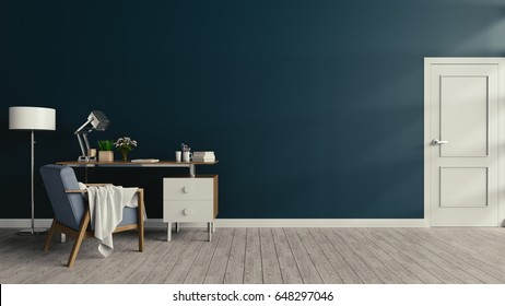 The working room consists of white walls, dark walls,3d rendering