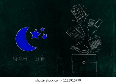 working shifts conceptual illustration: night shift icon with moon next to office bag with objets flying out