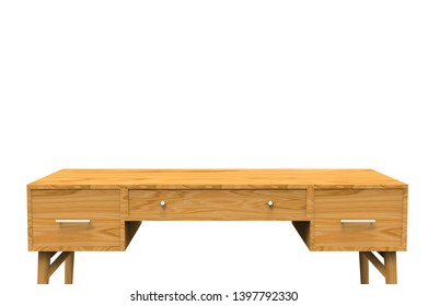 Working Table isolated on white 3D Rendering