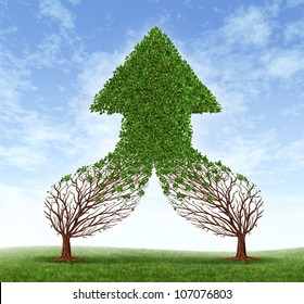 Working together business symbol and financial merger concept as two trees connecting  and merging as one forming a healthy growing arrow shaped tree as an icon of teamwork success.