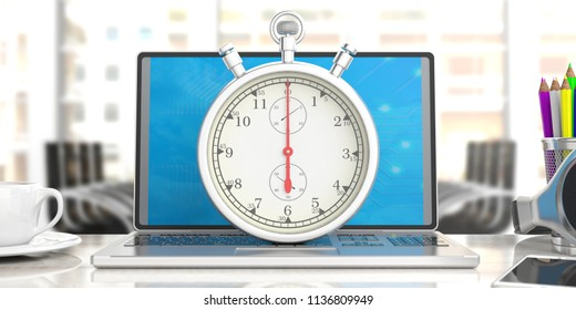 Working under pressure. Stopwatch, timer, on computer, laptop, blur office business background. 3d illustration