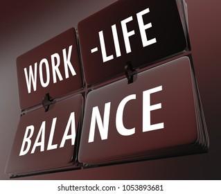 Work-Life Balance Clock Flipping Tiles 3d Illustration