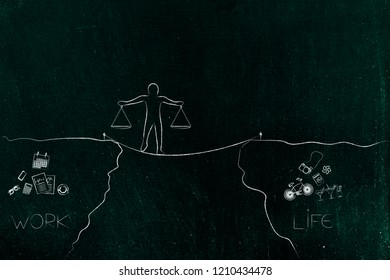 work-life balance conceptual illustration: man walking on tight rope holding balanced scale plates and cliffs with work and life icons