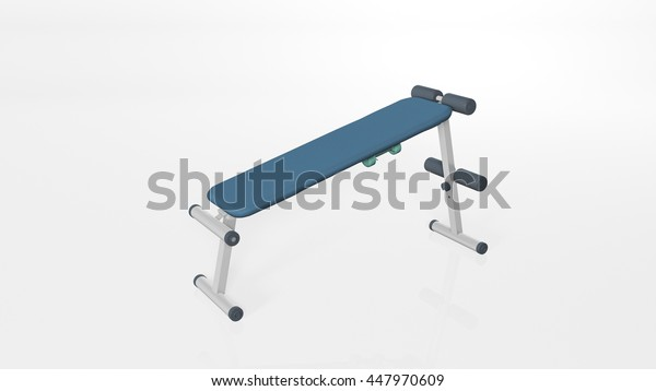 Workout gym bench, sports equipment isolated on white background, 3D illustration