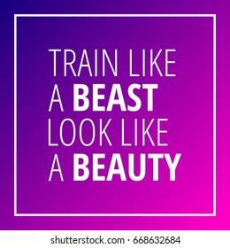 Workout motivation quote on blue pink gradient background