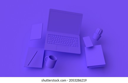 Lieu de travail avec ordinateur portable volant et tablette. Concept d'apprentissage en ligne. Rendu 3d