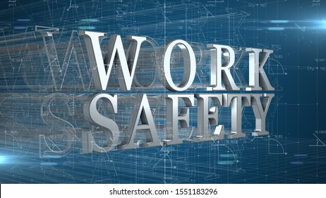 Workplace health and safety (WHS (HSE) (OSH) welfare of people at work title - 3D title Illustration Render