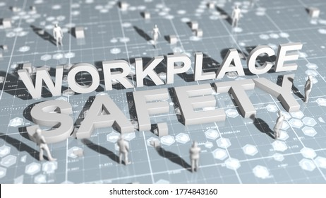 Workplace health and safety (WHS (HSE) (OSH) welfare of people at work title   - 3D Illustration Render