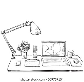 Workplace with laptop, notebook, tablet and cup of coffee  drawn illustration