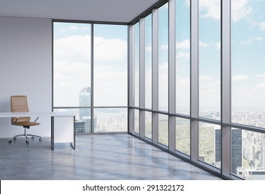 A workplace in a modern corner panoramic office in Manhattan, New York. A concept of financial consulting services. 3D interior.