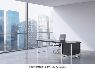 A workplace in a modern panoramic office, Singapore business centre view from the windows. A concept of financial consulting services. 3D rendering.