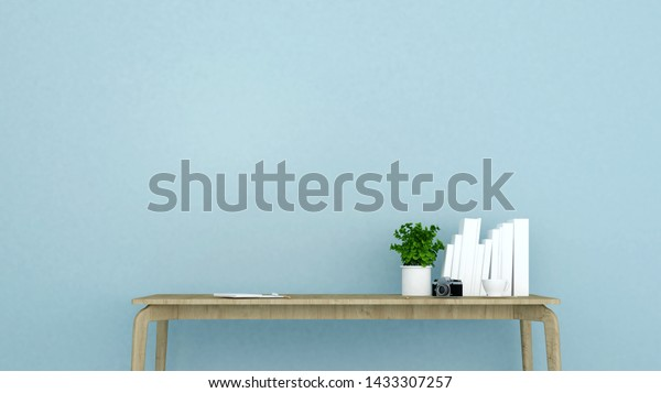 Workplace On Light Blue Wall Decoration Stock Illustration 1433307257