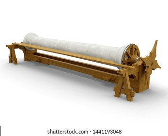 Workplace for the production of stone pillars, Leonardo da Vinci, Codex Atlanticus 0053r. 3D model