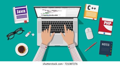 Workplace of programmer or coder. Desktop pc, laptop, books, coffee, glasses. Software coding, programming languages, testing, debugging, web site, search engine seo illustration in flat style