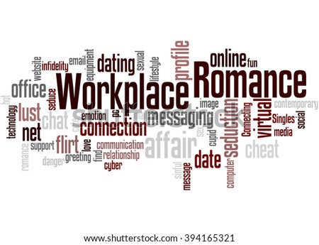 workplace romance word cloud concept on stock illustration 394165321