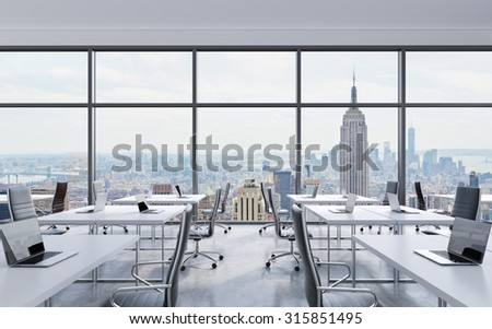Workplaces Modern Panoramic Office New York Stockillustration