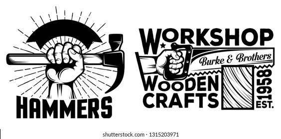 Workshop logos with hand tools hammer saw in vintage style.