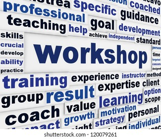 Workshop poster design. Professional seminar message background