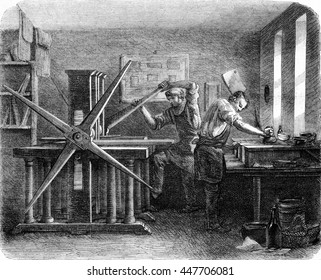 Workshop printers intaglio, vintage engraved illustration. Magasin Pittoresque 1852.