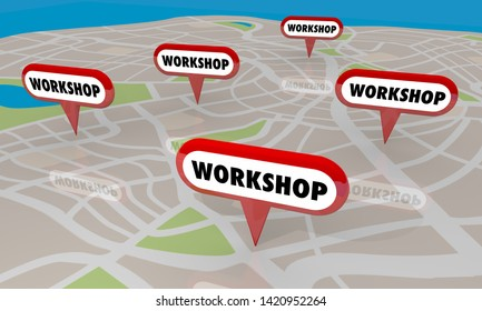 Workshop Session Seminar Class Course Map Pins Locations 3d Illustration