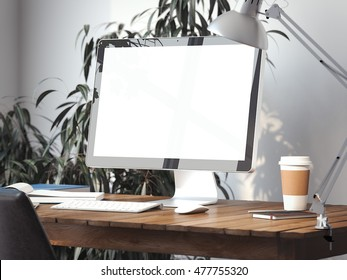 Workspace with blank screen on a table. 3d rendering