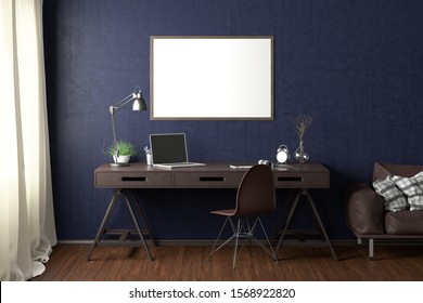 Workspace with horizontal poster mock up on blue wall. Desk with drawers in interior of the studio or at home. Clipping path around poster. 3d illustration.