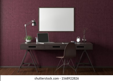 Workspace with horizontal poster mock up on magenta wall. Desk with drawers in interior of the studio or at home. Clipping path around poster. 3d illustration.