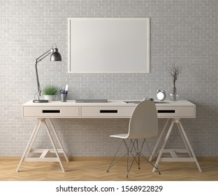 Workspace with horizontal poster mock up on white brick wall. Desk with drawers in interior of the studio or at home. Clipping path around poster. 3d illustration.