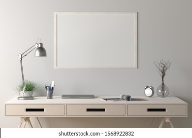 Workspace with horizontal poster mock up on white wall. Desk with drawers in interior of the studio or at home. Clipping path around poster. 3d illustration.