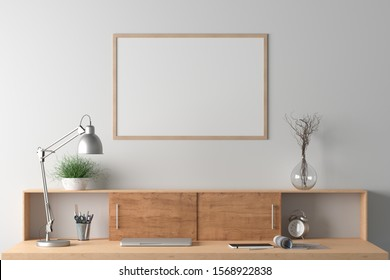 Workspace with horizontal poster mock up on the white wall. Desk with drawers in interior of the studio or at home. Clipping path around poster. 3d illustration.