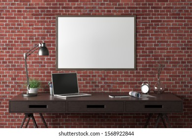 Workspace with horizontal poster mock up on red brick wall. Desk with drawers in interior of the studio or at home. Clipping path around poster. 3d illustration.