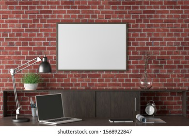 Workspace with horizontal poster mock up on the red brick wall. Desk with drawers in interior of the studio or at home. Clipping path around poster. 3d illustration.