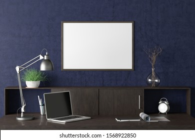 Workspace with horizontal poster mock up on the blue wall. Desk with drawers in interior of the studio or at home. Clipping path around poster. 3d illustration.