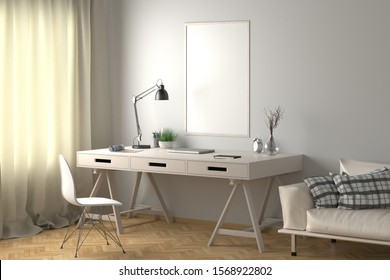 Workspace with vertical poster mock up on white wall. Desk with drawers in interior of the studio or at home. Clipping path around poster. 3d illustration.