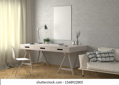 Workspace with vertical poster mock up on white brick wall. Desk with drawers in interior of the studio or at home. Clipping path around poster. 3d illustration.