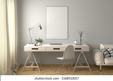 Workspace with vertical poster mock up on the white wall. Desk with drawers in interior of the studio or at home. Clipping path around poster. 3d illustration.
