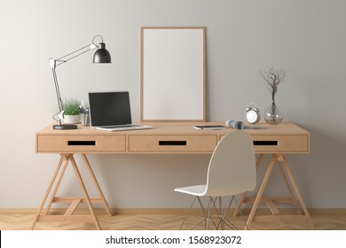 Workspace with vertical poster mock up on the desk. Desk with drawers in interior of the studio or at home with white wall. Clipping path around poster. 3d illustration.