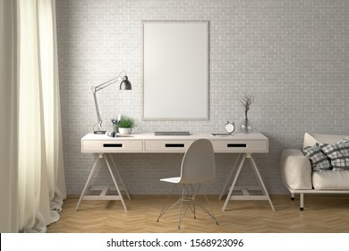 Workspace with vertical poster mock up on the white brick wall. Desk with drawers in interior of the studio or at home. Clipping path around poster. 3d illustration.
