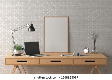 Workspace with vertical poster mock up on the desk. Desk with drawers in interior of the studio or at home with white brick wall. Clipping path around poster. 3d illustration.