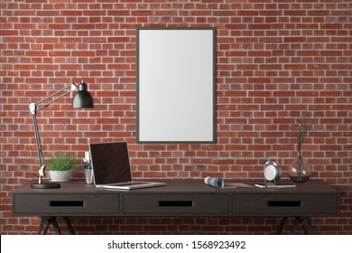 Workspace with vertical poster mock up on the red brick wall. Desk with drawers in interior of the studio or at home. Clipping path around poster. 3d illustration.