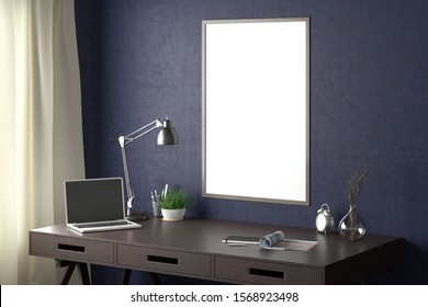 Workspace with vertical poster mock up on the blue wall. Desk with drawers in interior of the studio or at home. Clipping path around poster. 3d illustration.