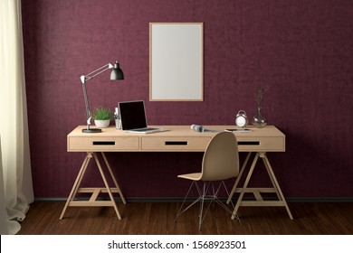 Workspace with vertical poster mock up on the red wall. Desk with drawers in interior of the studio or at home. Clipping path around poster. 3d illustration.